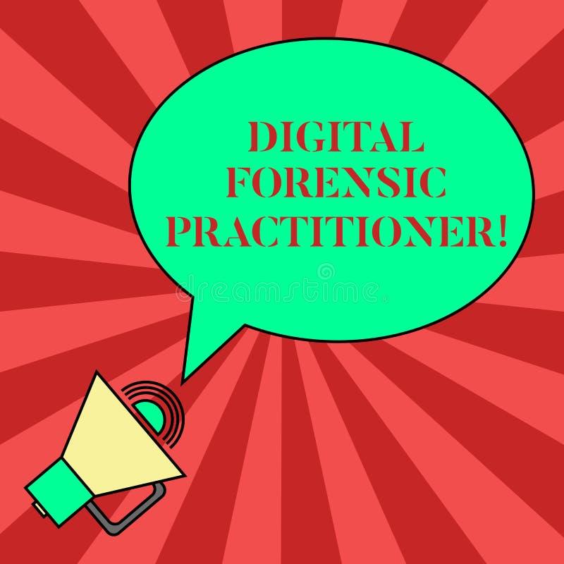 Handskrifttext som skriver Digital den rättsmedicinska praktiker Begreppsbetydelsespecialist, i att utforska mellanrumet för dato stock illustrationer