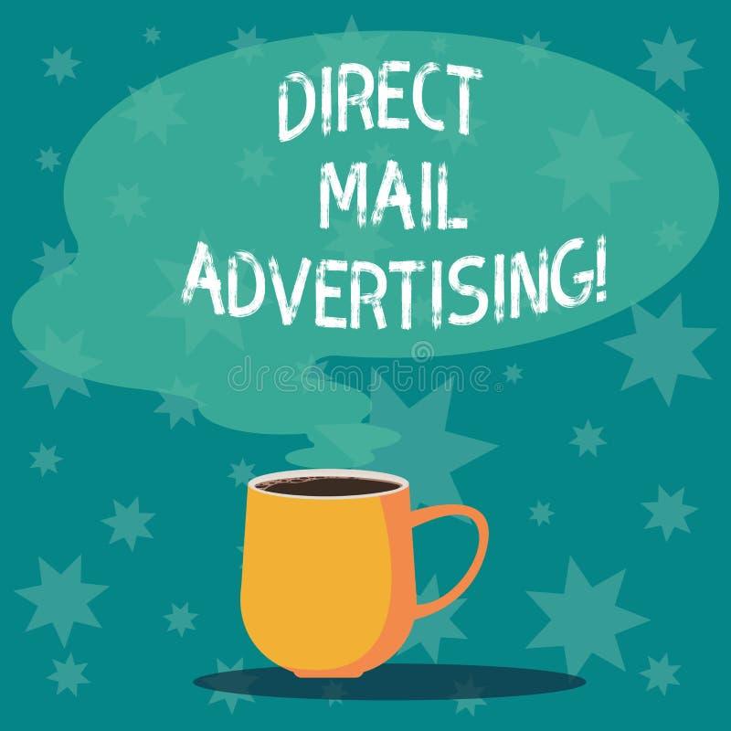 Handskrifttext som skriver direkt post som annonserar Begreppet som betyder att leverera marknadsföringsmaterial till klienten av stock illustrationer