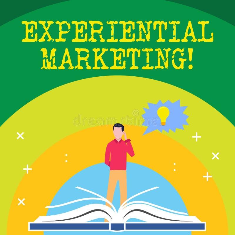 Handskrifttext som skriver empirisk marknadsföring Strategi för begreppsbetydelsemarknadsföring som kopplar in direkt konsumentma royaltyfri illustrationer