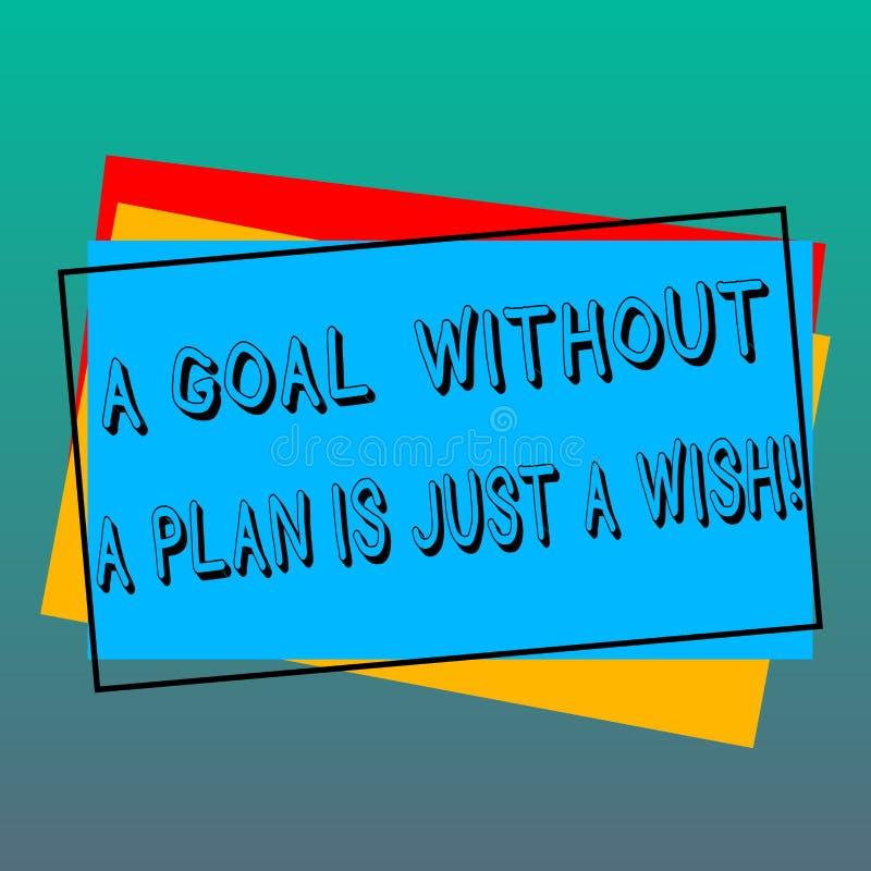 Handskrifttext som skriver ett mål utan ett plan, är precis en önska E royaltyfri illustrationer