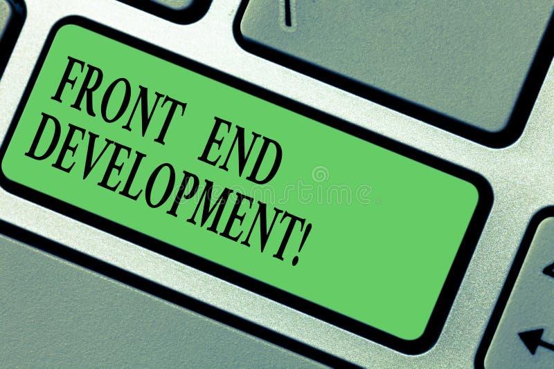 Handskrifttext som skriver Front End Development Begreppsbetydelse som förändrar data till den grafiska manöverenheten för att an royaltyfria foton