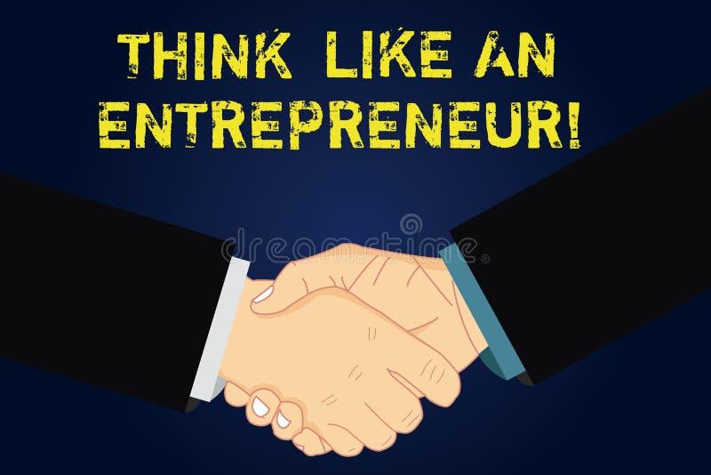 Handskrifttext som skriver funderare som en entreprenör Begreppsbetydelsen har en egenföretagandemening startar upp strategi Hu stock illustrationer