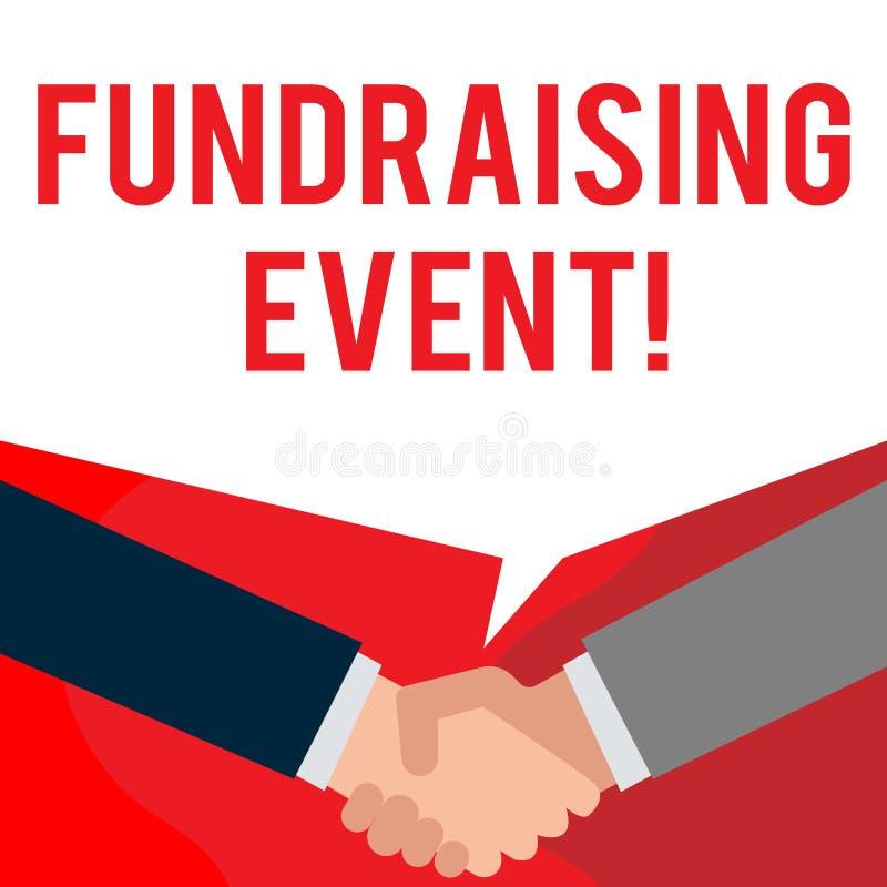 Handskrifttext som skriver Fundraising händelse Begreppsbetydelseaktion vars avsikt är att lyfta pengar för en orsak två royaltyfri illustrationer