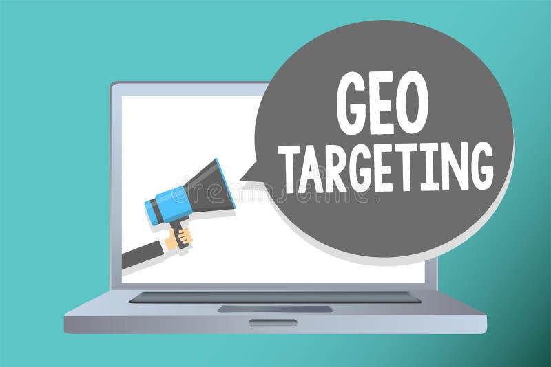 Handskrifttext som skriver Geo att uppsätta som mål Begreppet som betyder IPet address Adwords för Digital annonssikter, delta i  arkivfoto