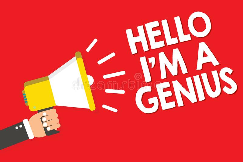 Handskrifttext som skriver Hello är jag, en snille Begreppsbetydelsen introducerar sig, som över genomsnittlig person till andra  royaltyfri illustrationer