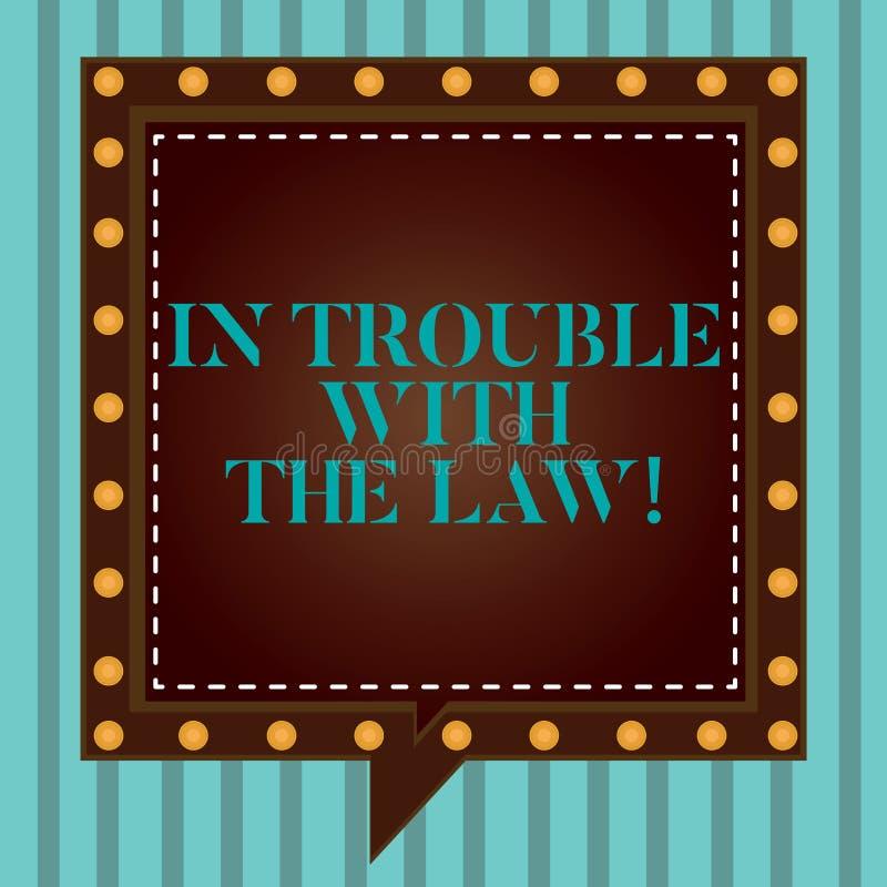 Handskrifttext som skriver i problem med lagen Frågor för rättvisa för brottsliga handlingar för brott för problem för begreppsbe vektor illustrationer