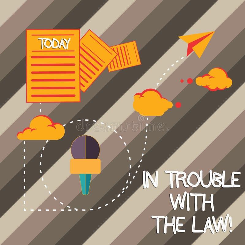 Handskrifttext som skriver i problem med lagen Frågor för rättvisa för brottsliga handlingar för brott för problem för begreppsbe royaltyfri illustrationer