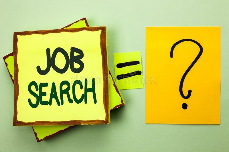 Handskrifttext som skriver Job Search Rekryt för rekrytering för anställning för tillfälle för vakans för karriär för begreppsbet royaltyfria bilder