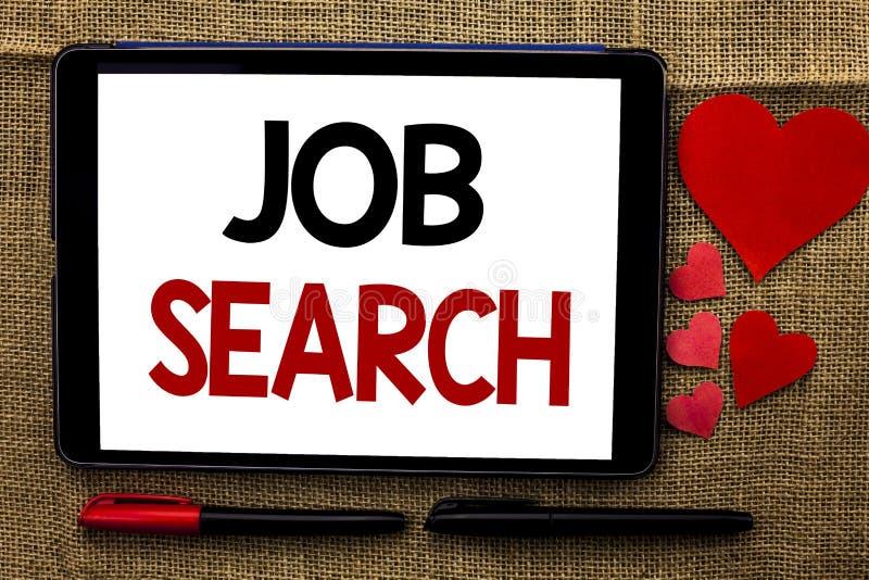 Handskrifttext som skriver Job Search Rekryt för rekrytering för anställning för tillfälle för vakans för karriär för begreppsbet royaltyfria foton