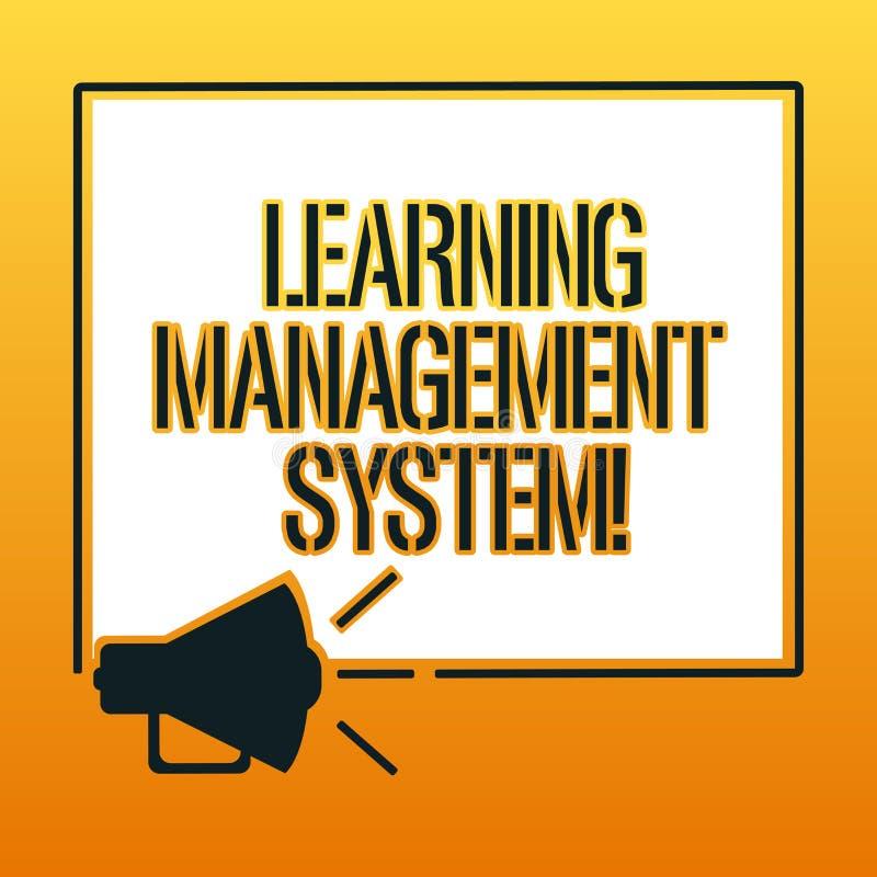 Handskrifttext som skriver lära ledningsystemet Begreppet som betyder programvaruapplikationen, som är van vid, administrerar stock illustrationer