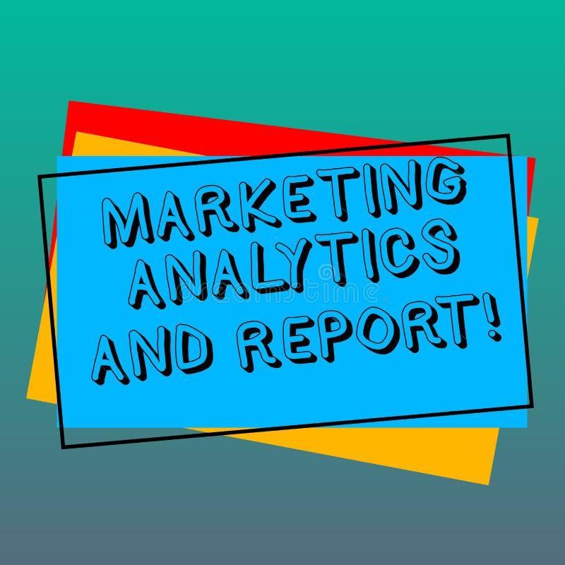 Handskrifttext som skriver marknadsföra Analytics och rapporten Begrepp som betyder annonsera strategier för befordrings- aktion vektor illustrationer