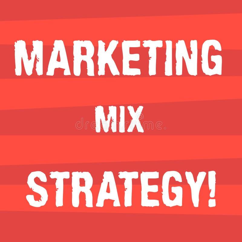 Handskrifttext som skriver marknadsföra blandningstrategi Begreppsbetydelsen ställde in av governable taktiskt företagsbruk för m stock illustrationer
