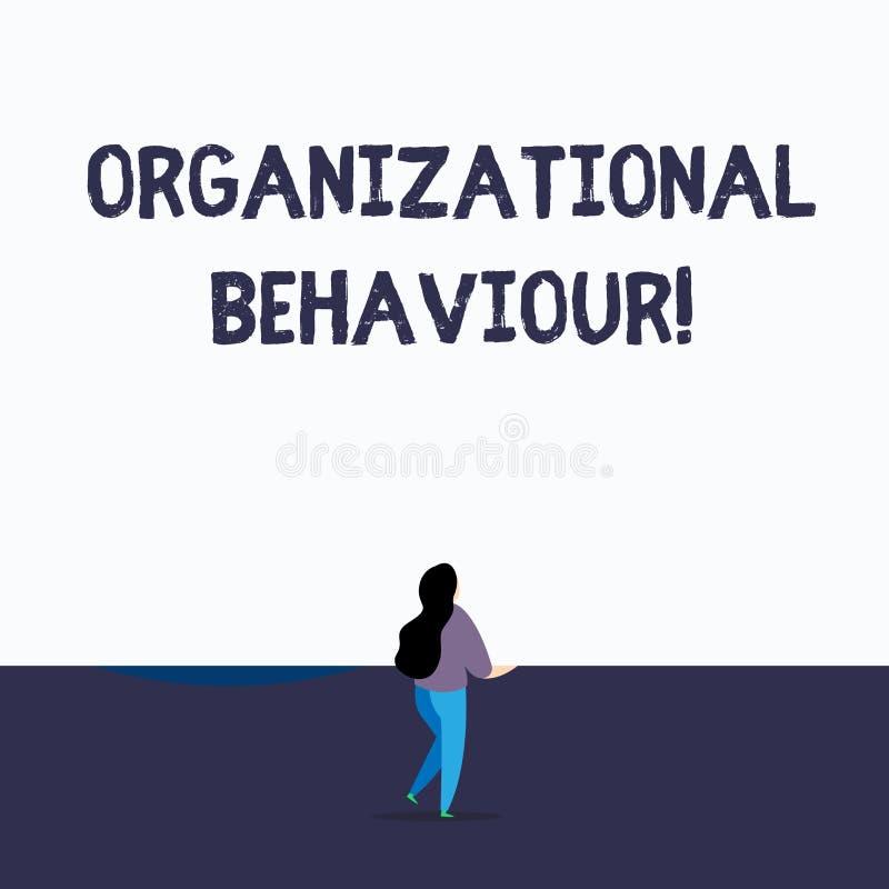 Handskrifttext som skriver organisatoriskt uppf?rande Begreppet som betyder studien av väguppvisningen, påverkar varandra inom gr stock illustrationer