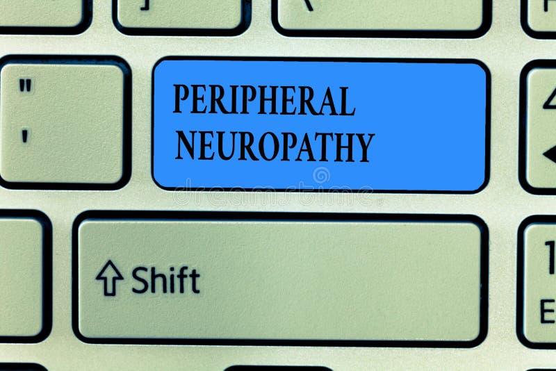 Handskrifttext som skriver perifer Neuropathy Begreppsbetydelsevillkor där den perifer nervsystemet skadas royaltyfri bild
