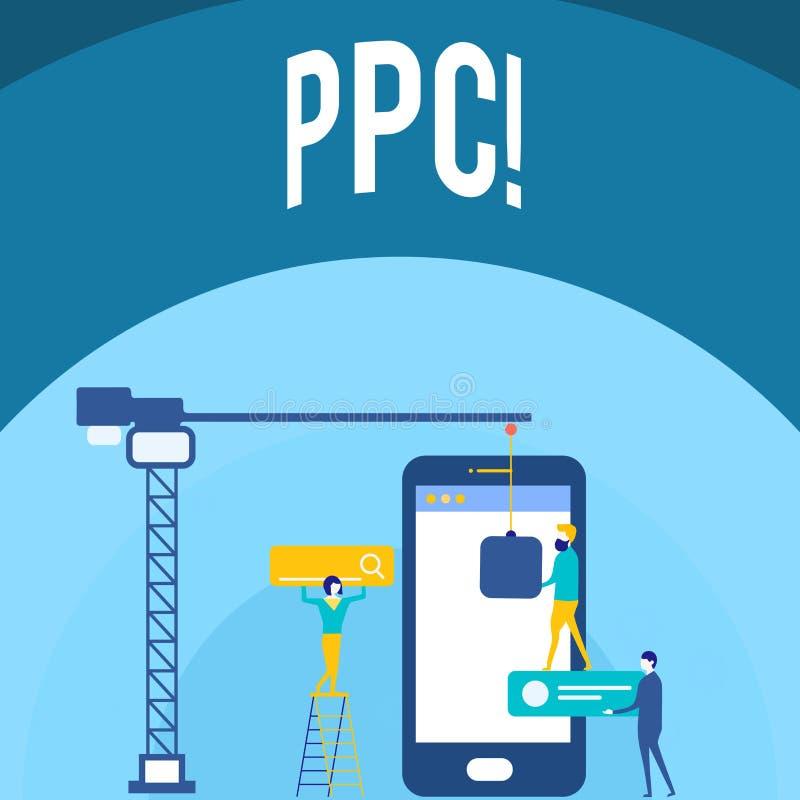Handskrifttext som skriver Ppc Begrepp som betyder lön per klicken som annonserar direkt trafik för strategier till Websites stock illustrationer