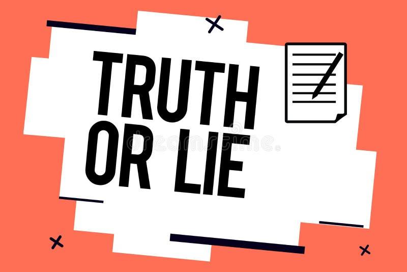 Handskrifttext som skriver sanning eller lögn Begreppsbetydelsebeslutet mellan att vara ärligt ohederligt primat tvivel avgör vektor illustrationer