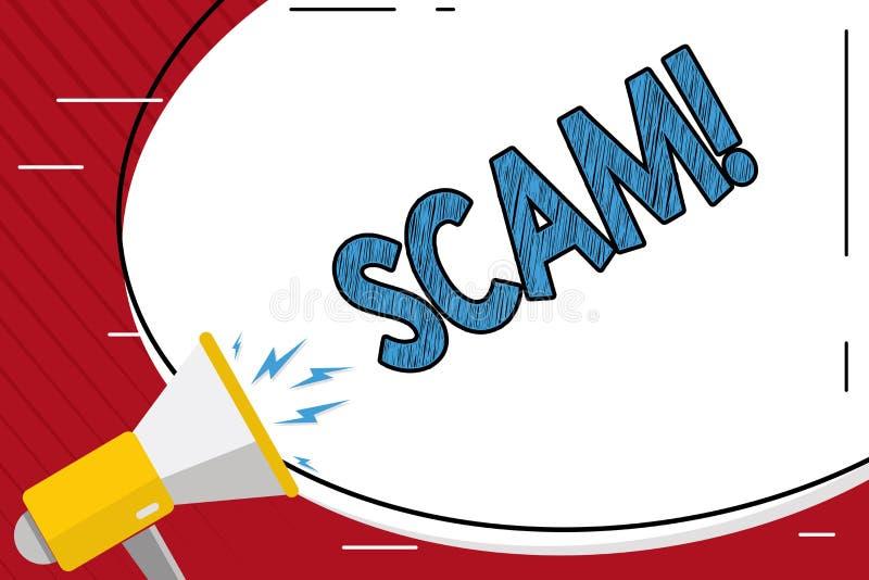 Handskrifttext som skriver Scam Folk för trick för bedrägeri för handling för begreppsbetydelse ohederligt för framställning av p stock illustrationer