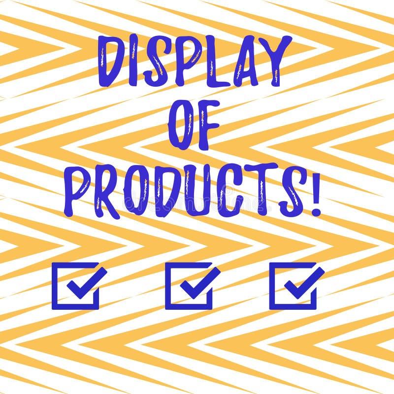 Handskrifttext som skriver skärm av produkter Begreppsbetydelseväg att tilldra och locka köpande allmänhet som använder showlodli royaltyfri illustrationer