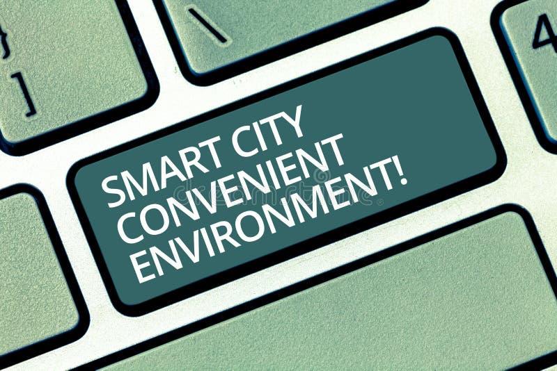 Handskrifttext som skriver Smart City den lämpliga miljön Begreppsbetydelsen förband teknologiska moderna städer fotografering för bildbyråer