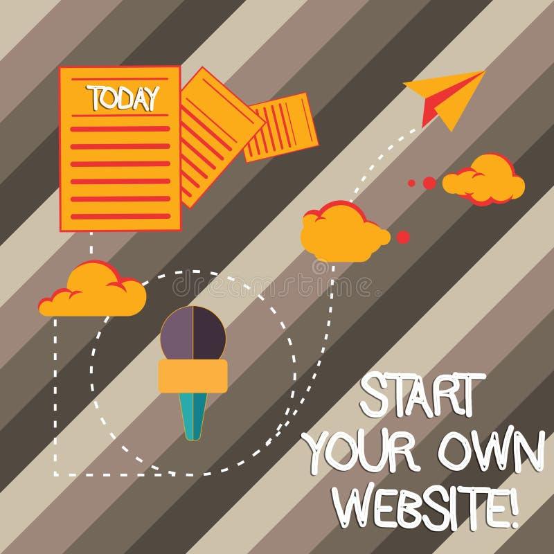 Handskrifttext som skriver start din egen Website Begreppsbetydelseserve som förlängning av ett affärskort en personlig plats stock illustrationer