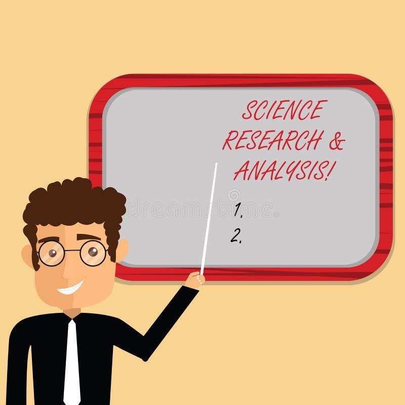 Handskrifttext som skriver vetenskapsforskning och analys Man för experiment för utredning för begreppsbetydelselaboratorium medi vektor illustrationer