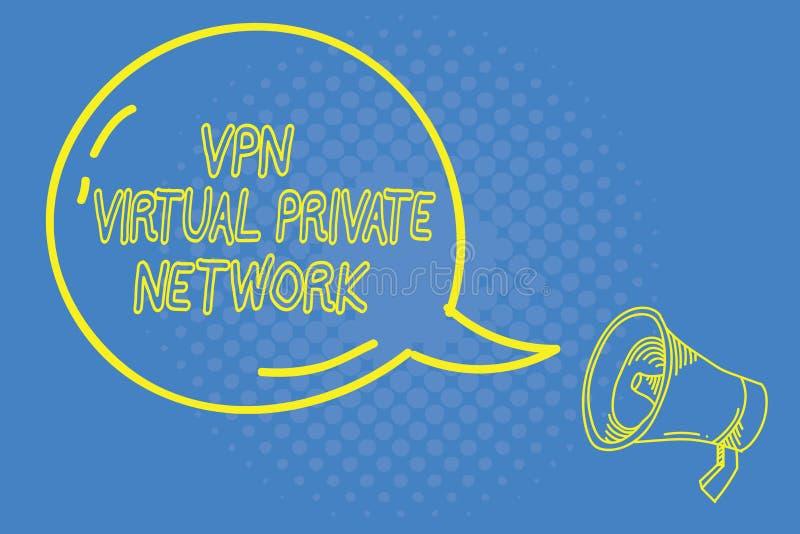Handskrifttext som skriver Vpn det faktiska privata nätverket Begreppet som betyder kassaskåpet, kodade anslutning över internet stock illustrationer