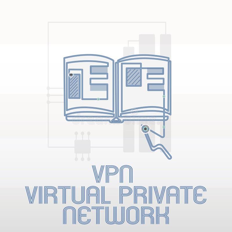 Handskrifttext som skriver Vpn det faktiska privata nätverket Begreppet som betyder kassaskåpet, kodade anslutning över internet vektor illustrationer