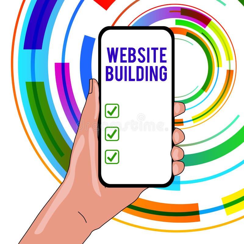 Handskrifttext som skriver Websitebyggnad Begrepp som betyder hjälpmedel som låter typisk konstruktionen av sidacloseupen stock illustrationer