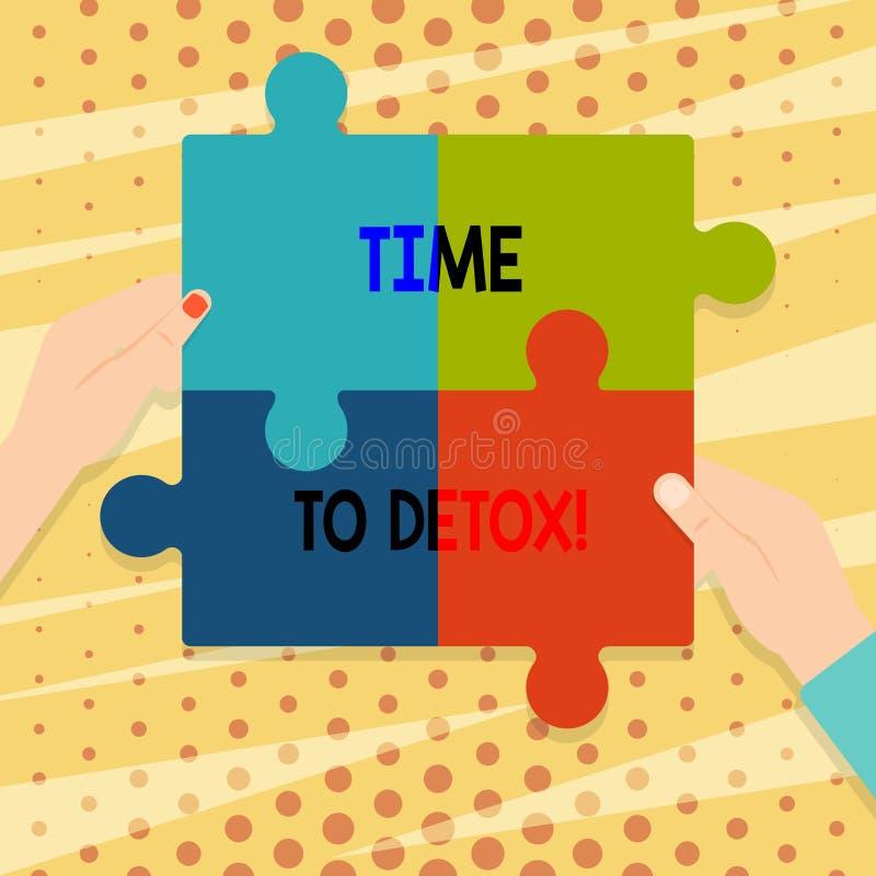 Handskrifttext Tid till detoxen Begreppsbetydelse, när du renar din kropp av toxin eller att stoppa att konsumera mellanrumet för royaltyfri illustrationer