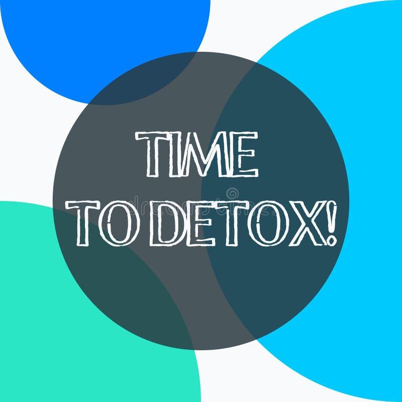 Handskrifttext Tid till detoxen Begreppsbetydelse, när du renar din kropp av toxin eller stoppar att konsumera drogen royaltyfri illustrationer