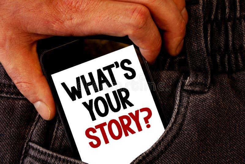 Handskrifttext vad är din berättelsefråga Begreppsbetydelsen förbinder meddelar bakfickan för jeans för uppkopplingsmöjlighetansl royaltyfri illustrationer