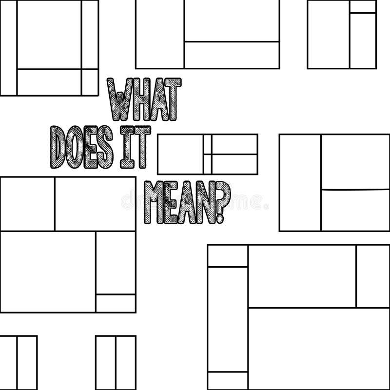 Handskrifttext vad gör den Meanquestion Begreppet som betyder förvirringskuriositetförhör, frågar royaltyfri illustrationer