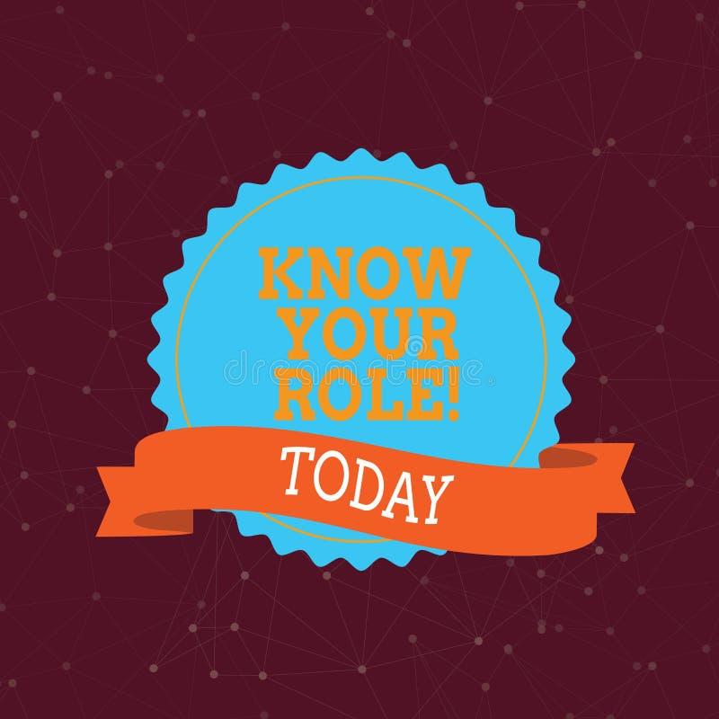 Handskrifttext vet din roll Begreppsbetydelsen definierar position i aktiv för mål för arbets- eller livkarriärliv vektor illustrationer
