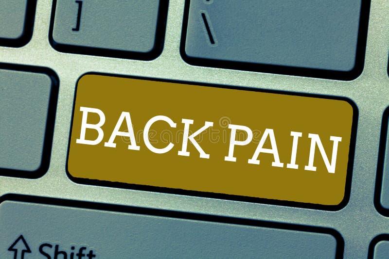 Handskrifttextbaksida smärtar Begrepp som betyder Soreness av benen som kläs med filt på den lägre tillbaka delen av kroppen royaltyfri foto