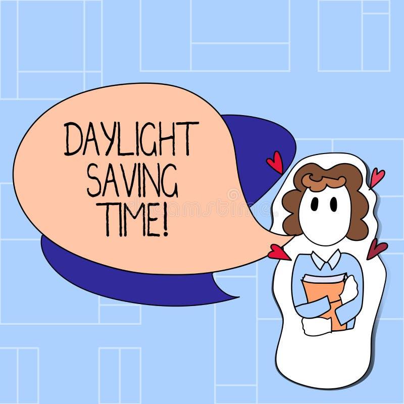 Handskrifttextdagsljus som sparar Tid Flyttande fram klockor för begreppsbetydelse under sommar som sparar elektricitet royaltyfri illustrationer