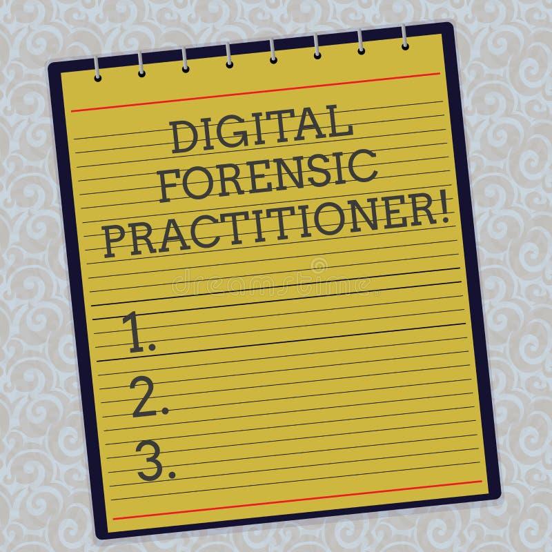 HandskrifttextDigital rättsmedicinsk praktiker Begreppsbetydelsespecialist, i att utforska fodrad spiral för datorbrott vektor illustrationer