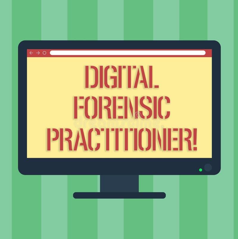 HandskrifttextDigital rättsmedicinsk praktiker Begreppsbetydelsespecialist, i att utforska mellanrumet för datorbrott vektor illustrationer