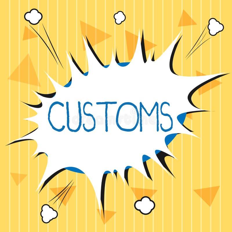 Handskrifttextegenar Begreppet som betyder officiell avdelning, administrerar samlar arbetsuppgifter på importerat gods stock illustrationer