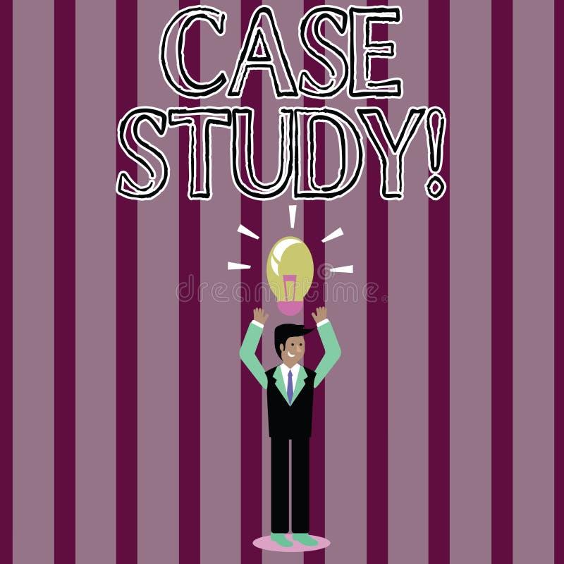 Handskrifttextfallstudie Begreppsbetydelserekord av forskning in i utveckling av den särskilda lägeaffärsmannen stock illustrationer