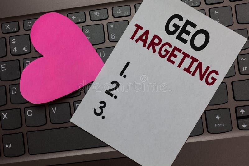 HandskrifttextGeo uppsätta som mål Begrepp som betyder för Adwords för IP address för Digital annonssikter röra för papper för lä royaltyfria bilder