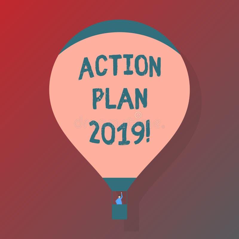 Handskrifttexthandlingsplan 2019 Begreppsbetydelse som gör listan i mål för mål för upplösning för nytt år för nytt år vektor illustrationer