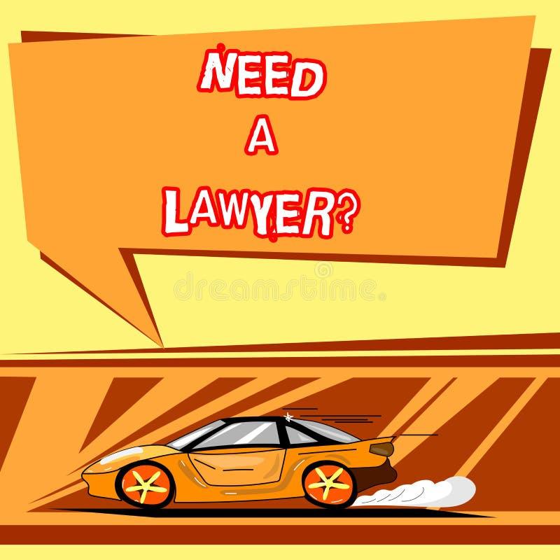 Handskrifttexthandstil behöver en Lawyerquestion Begreppsbetydelse som söker efter laglig rådgivning eller förbereder bilen för l stock illustrationer