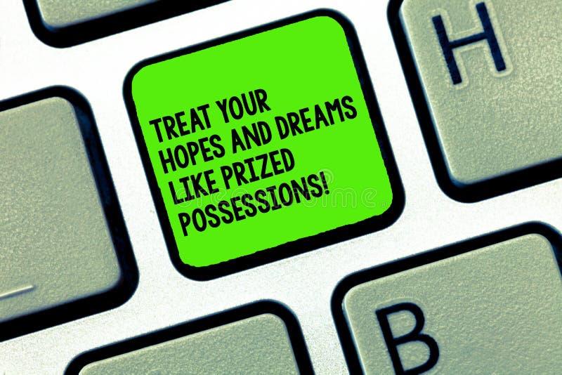 Handskrifttexthandstil behandlar dina hopp och drömmar som högt värderad besittningar Begreppsbetydelsevärde ditt önskatangentbor royaltyfri bild