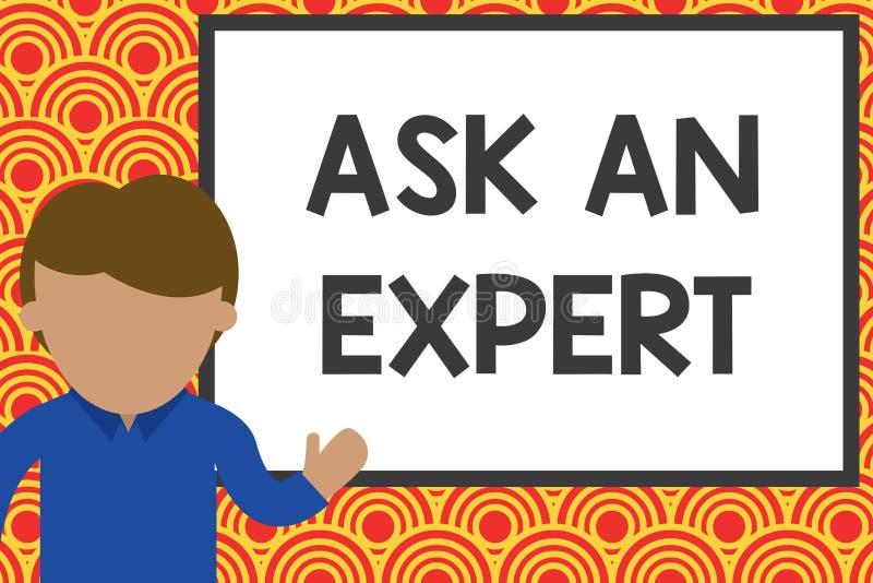 Handskrifttexthandstil fr?gar en expert Begreppsbetydelsen konsulterar någon som har expertis om något eller kunnigt royaltyfri illustrationer