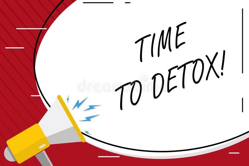 Handskrifttexthandstil Tid till detoxen Begreppsbetydelse, när du renar din kropp av toxin eller att stoppa att konsumera drogmel stock illustrationer