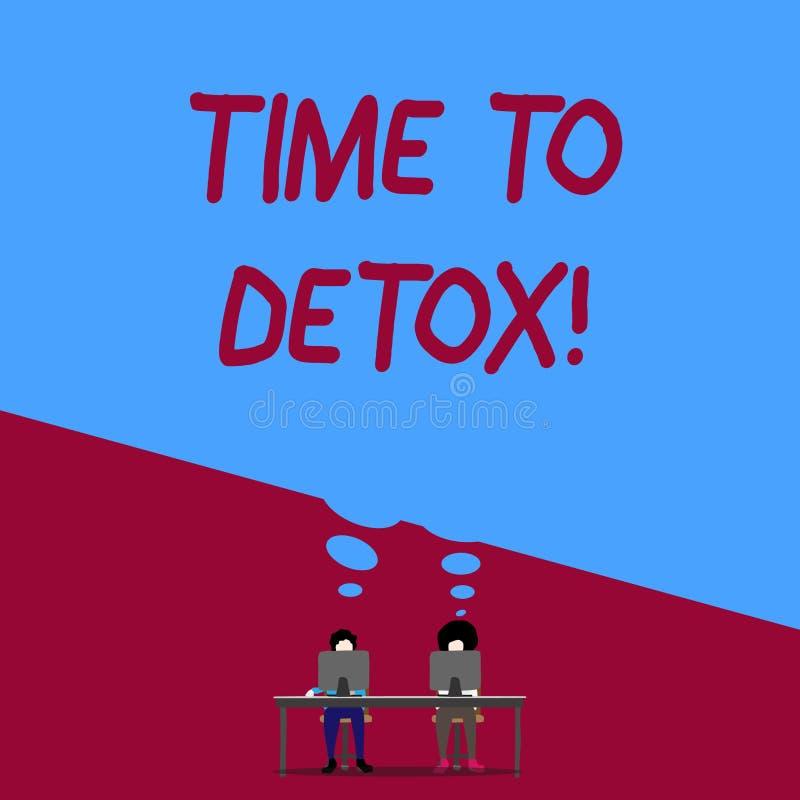 Handskrifttexthandstil Tid till detoxen Begreppsbetydelse, när du renar din kropp av toxin eller att stoppa att konsumera drogman vektor illustrationer