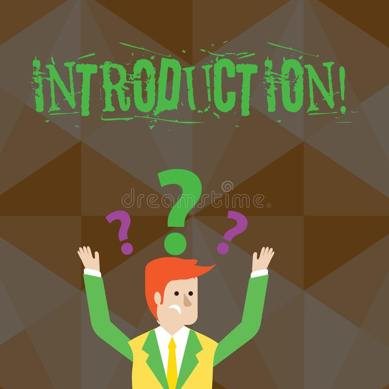 Handskrifttextinledning Första del för begreppsbetydelse av en formell presentation för dokument till förväxlade åhörare vektor illustrationer