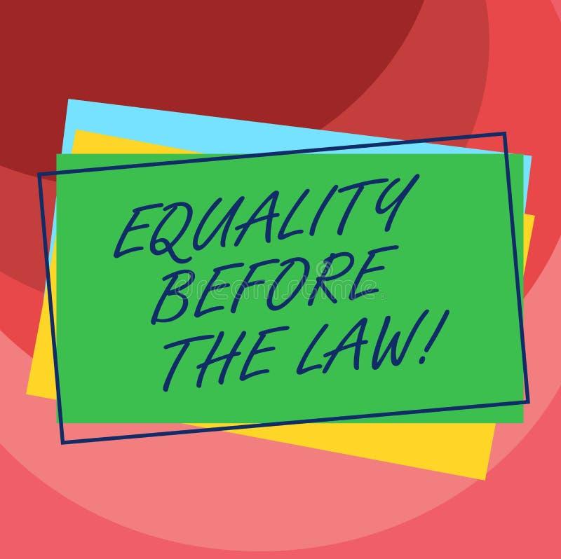 Handskrifttextjämställdhet för lagen Begrepp som betyder jämbördiga rätter för rättvisajämviktsskydd för alla hög av royaltyfri illustrationer