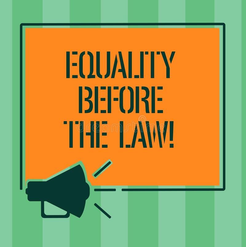 Handskrifttextjämställdhet för lagen Begrepp som betyder jämbördiga rätter för rättvisajämviktsskydd för alla megafon stock illustrationer