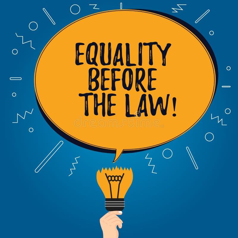 Handskrifttextjämställdhet för lagen Begrepp som betyder jämbördiga rätter för rättvisajämviktsskydd för alla oval färg för mella royaltyfri illustrationer